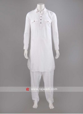 White Color Slub Cotton Pathani Set