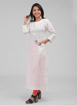 White Color Strips Print Soft Cotton Kurti