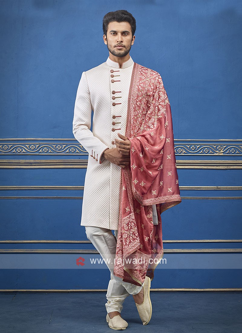 White Colour Indo-western with contrast Dupatta