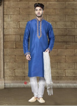Blue Art Dupion Silk Fabric Kurta Pajama
