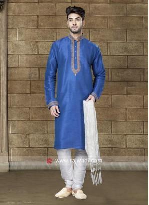 Blue Art Dupion Silk Fabric Kurta Pajama