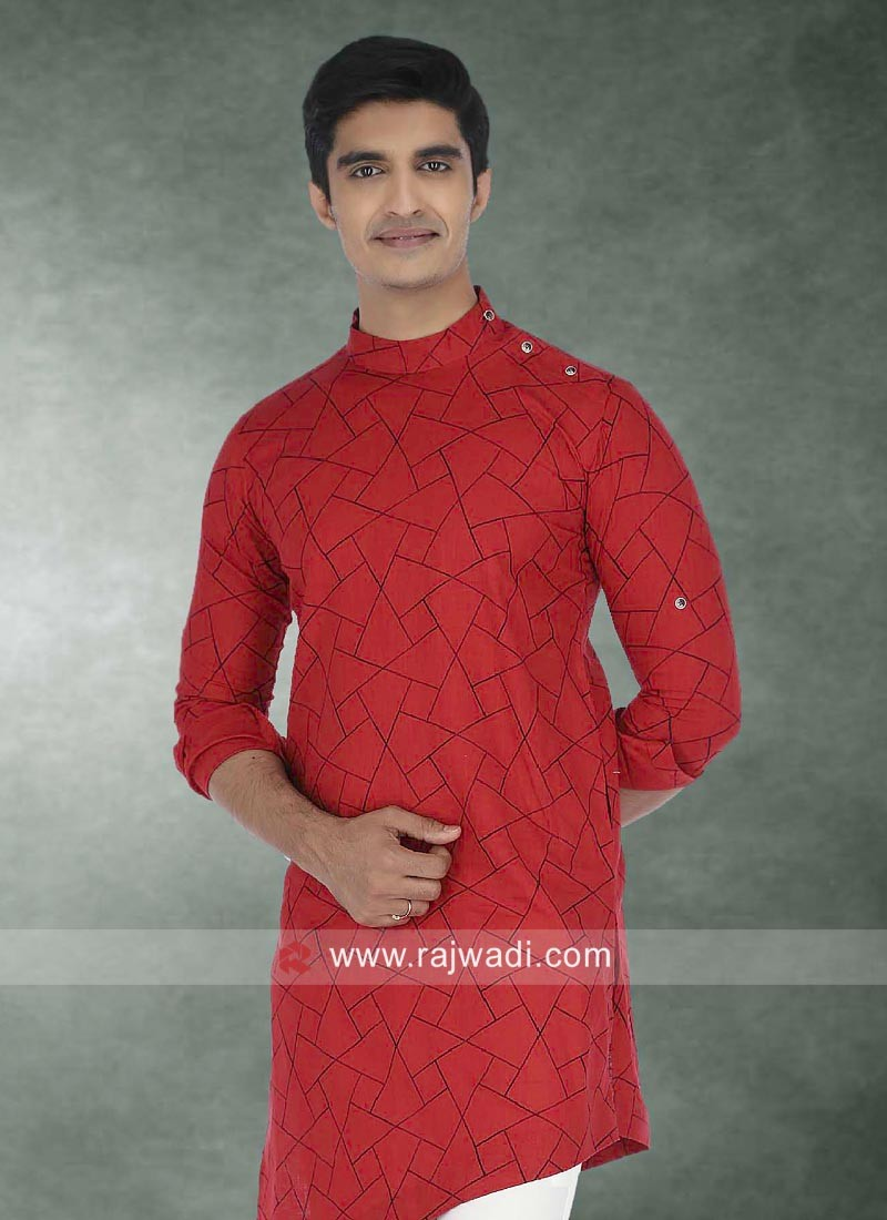 Red Cotton Fabric Kurta For Party