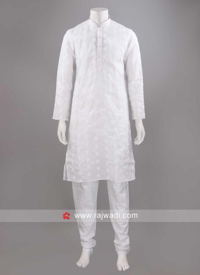 White Cotton Fabric Kurta Pajama
