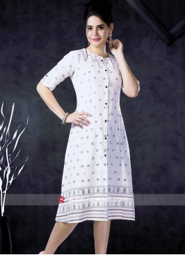 White Cotton Fabric Kurti