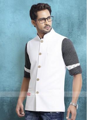White Cotton Silk Nehru Jacket