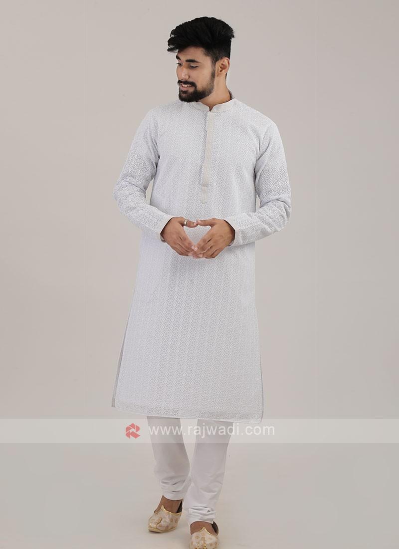 White Cotton Silk Kurta Pajama