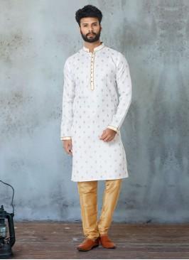 White Cotton Silk Printed Kurta Pajama