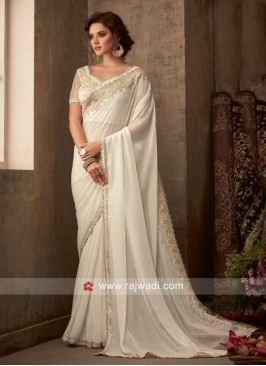 White Designer Border Work Saree