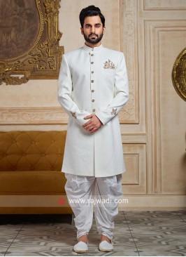 White Jute Silk Indo Western