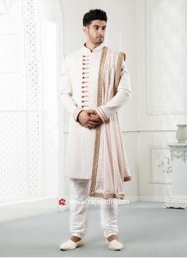 White Emboss Fabric Indo Western