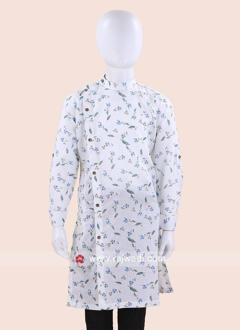 White Flower Print Kurta