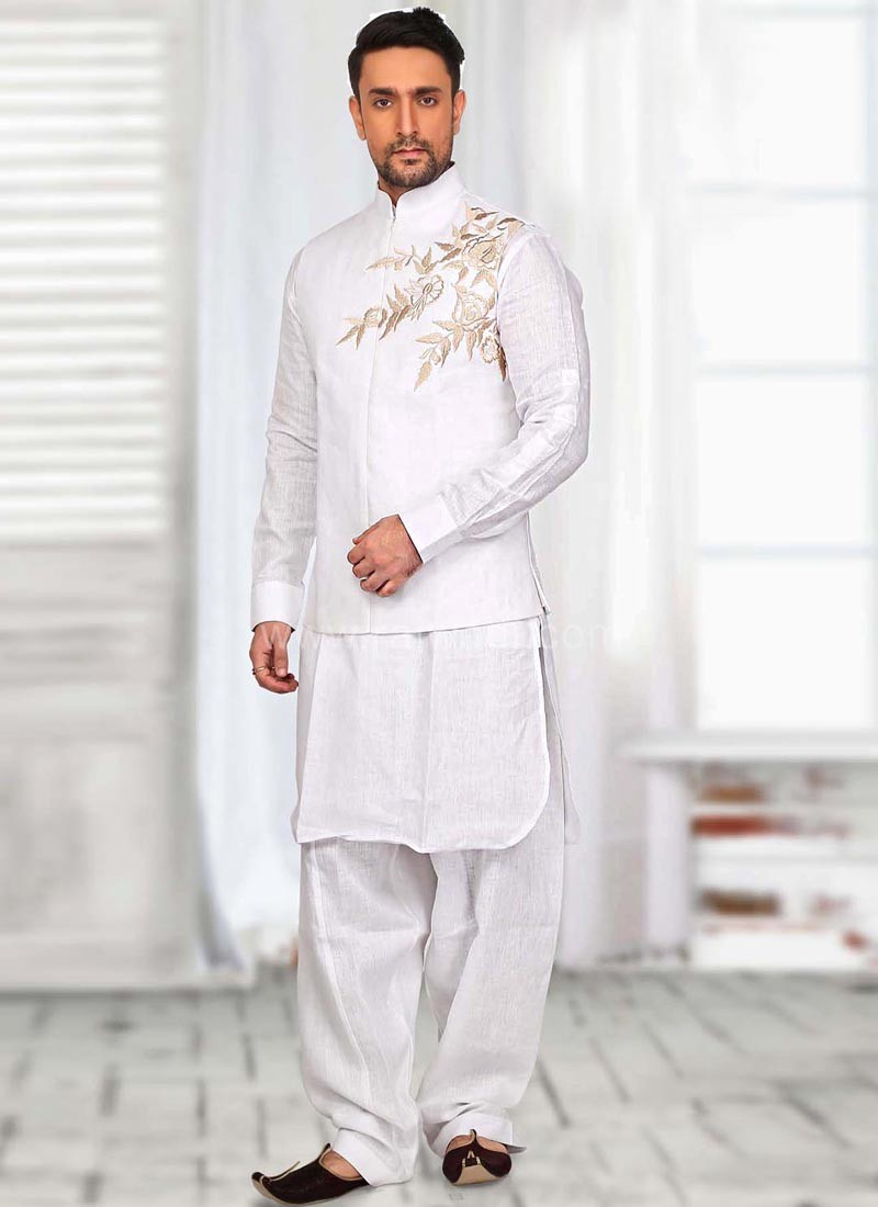 White Flower Work Koti with Kurta and Bottom
