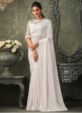 White Georgette Reception Bollywood Saree