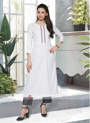 White & Grey Kurta Set