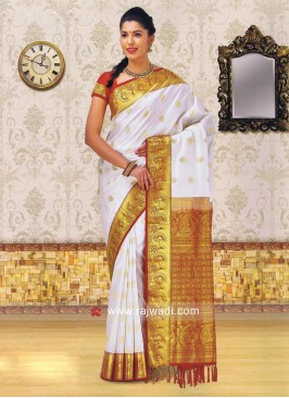 White Kancheepuram Silk Saree