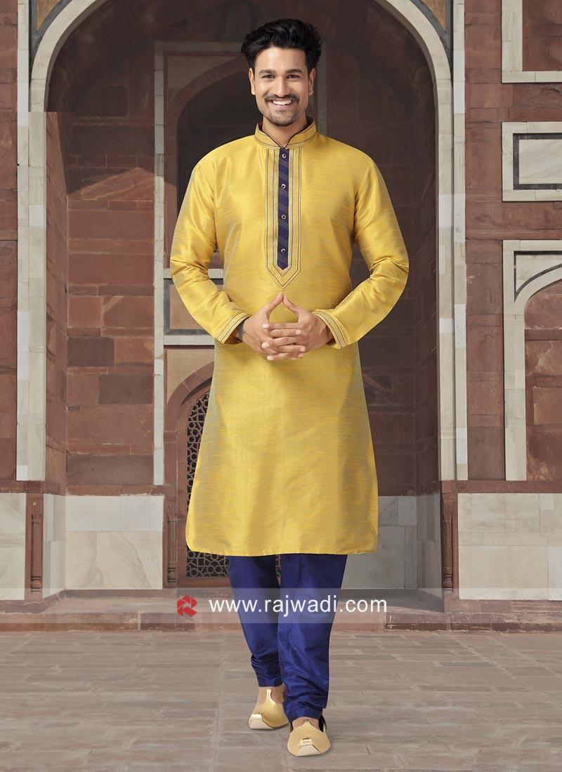 Plain Yellow Color Kurta Set