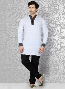 White Kurta Pajama with Piping on Neck