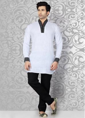 White Kurta Pajama with Piping on Neck