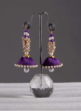 White Lariya Jhumki Earrings with Drop Bead