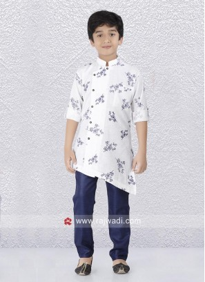 White Layered Kurta Set For Boys