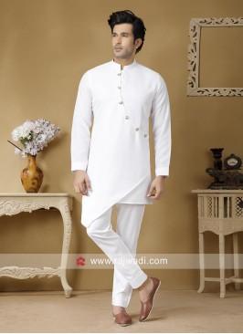White Linen Fabric Kurta Set For Wedding
