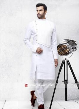White Linen Fabric Pathani Set