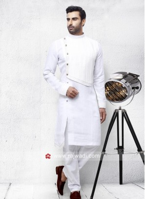 White Linen Fabric Pathani Set