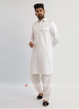 White Linen Pathani Suit