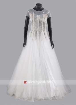 White Net Floor Length Gown