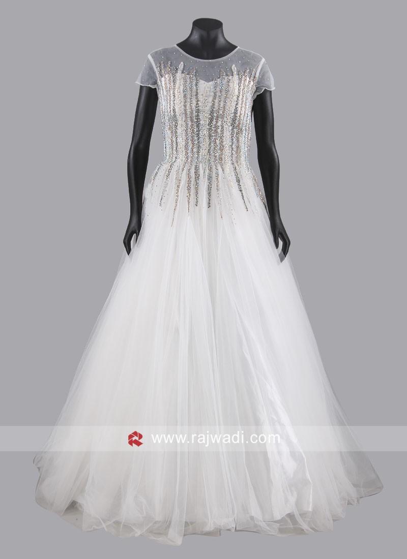 White Net Floor Length Gown