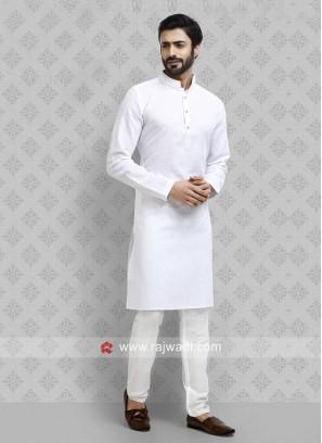 White Plain Kurta Pajama