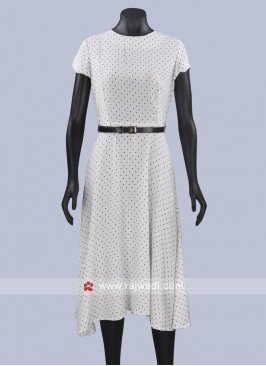 White Polka Dots Midi Dress with Belt