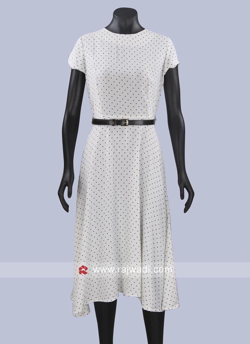 White Polka Dots Midi Dress with Belt