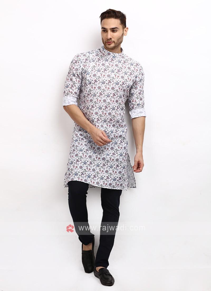 White Printed Kurta Pajama
