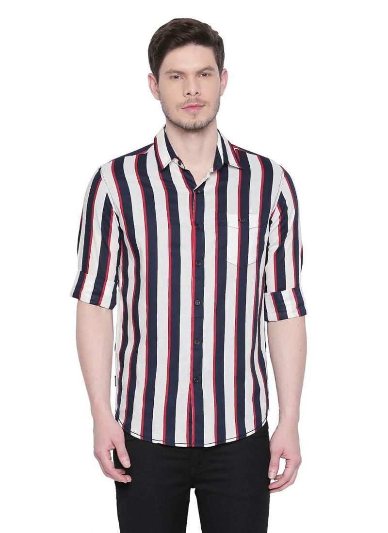 White-Red Full Sleeves Striped Shirt