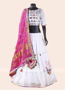 White Silk Chaniya Choli for Garba