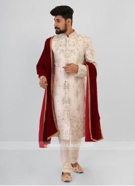 White Silk Sherwani