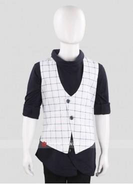 White Sleeveless Waist Coat for Boys