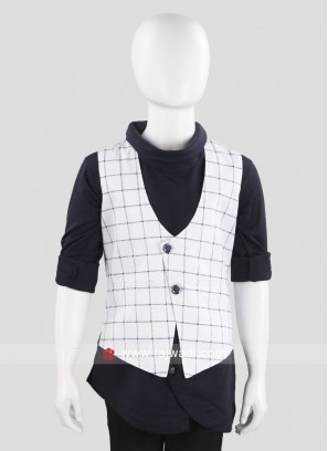 White Sleeveless Waist Coat for Boys