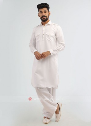 White Solid Pathani Suit In Soft Cotton