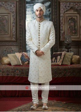 White Stone Work Sherwani