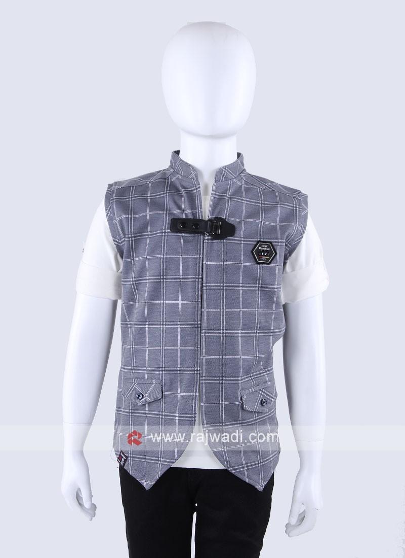 White T-Shirt With Grey Jacket