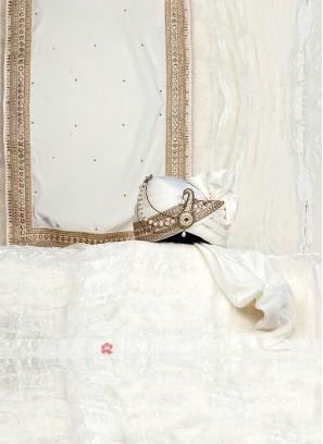 White Wedding Turban And Dupatta For Groom