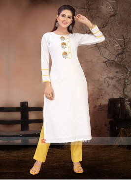 White & Yellow Color Kurta Set