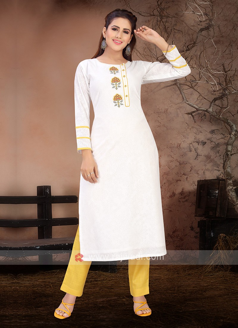 White & Yellow Color Kurta Set
