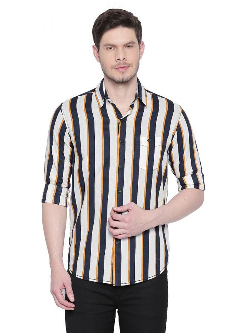 White-Yellow Full Sleeves Striped Shirt