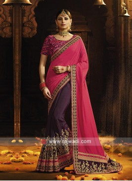 Wine and Deep Pink Half Saree