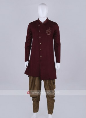 Wine and golden patiala suit