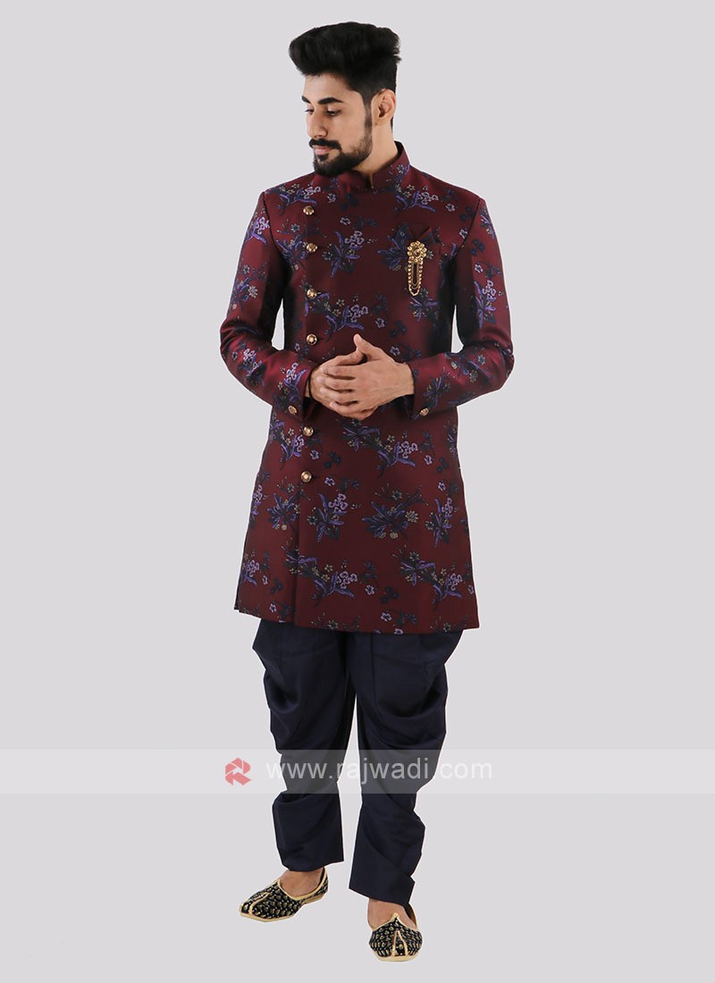 Wine And Navy Indo Western