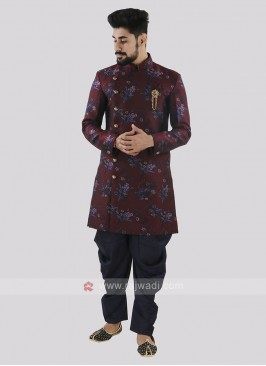 Wine And Navy Patiala Suit